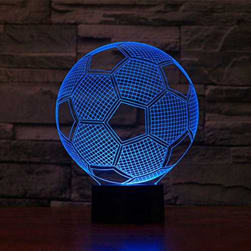 NIUDB Optical Illusion 3D Lighting Nightlight Glow for Kids Laser Cut Precision LED Lights Multicolored USB Powered Light Desk Lamps Yoga, Office, Spa, Bedroom,Baby Room (soccer)