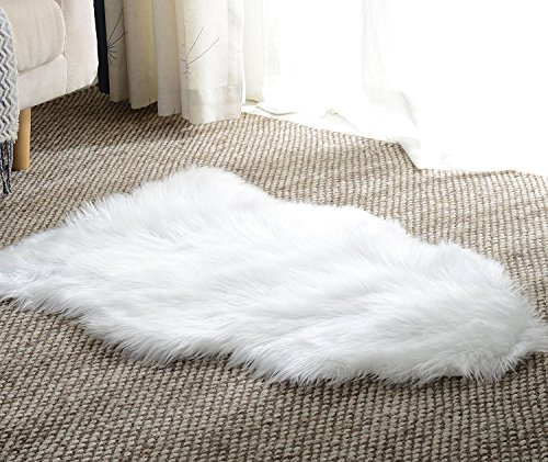 Basic Beyond Faux Sheepskin Area White Shag Rug,Single Pelt(2' x 3' feet)