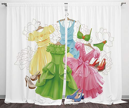 Satin Window Drapes Curtains [ Heels and Dresses,Princess Outfits Bikini Shoes Wardrobe Party Costumes Girls Room Decor,Multicolor ] Window Curtain Window Drapes for Living Room Bedroom Dorm Room Clas