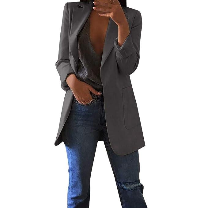 FRAUIT Büro Mantel Damen Herbst Winter Frauen Mädchen Jacke Mantel  Cardigans Anzug Einfarbig Lange Strickjacke Warm Bequem Freizeit Party  Geschäft Mode ... 9dd5f4ec25