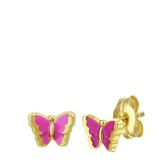 Kinderohrringe aus Gold Schmetterling Emaille