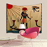 Ancient Exotic Ethnic Tribal Egypt Wall Hanging Tapestry by IMEI, Traditional Brown Wall Art Decor College Dorm Bedspread Blanket Hippie Tapestries (51 X 60 Inch, Egyptian Faith Ancient God Sun)