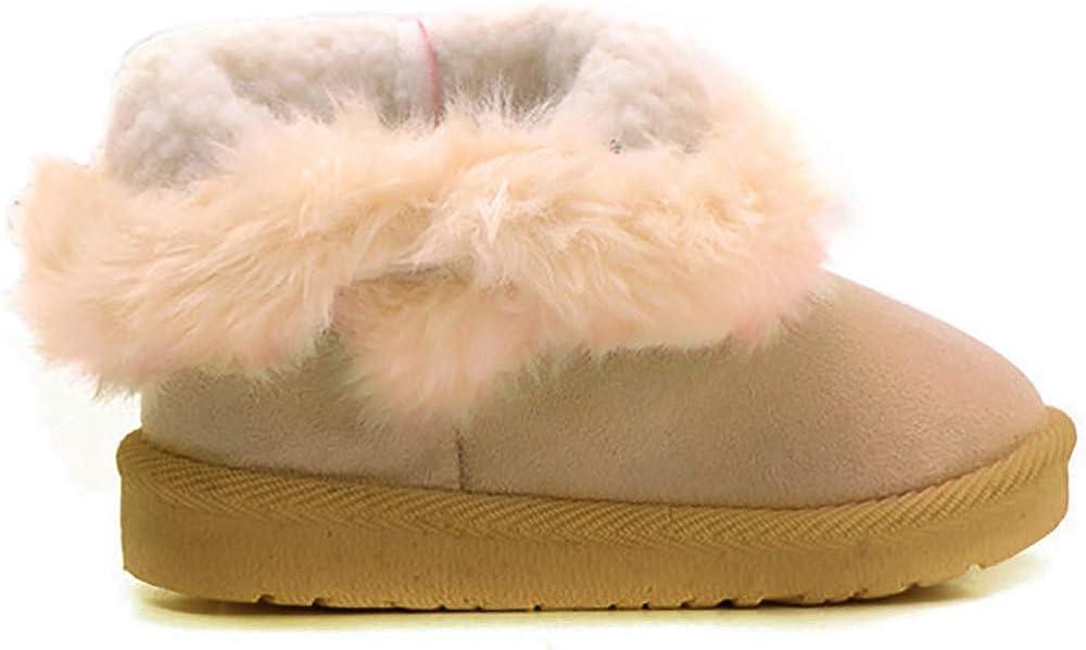 Poppin Kicks Girls Bailey Button Snow Boots Kids Winter Faux Fur Flat Shoes Toddler//Little Kid