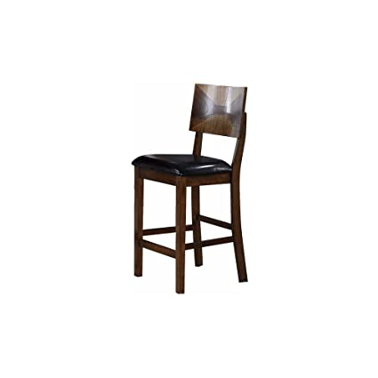 Geronimo Mid Century Modern 2 Counter Height Dining Chairs In 3 Tone Oak