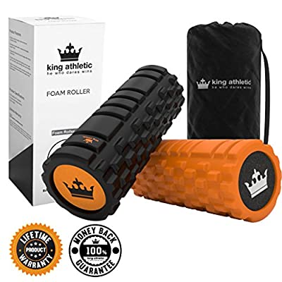 Foam Roller for Muscle Exercise and Myofascial Massage :: Physical Therapy, Grid Textured Fitness Rollers Best For Stretching, Tension Release, Pilates & Yoga from King Athletic