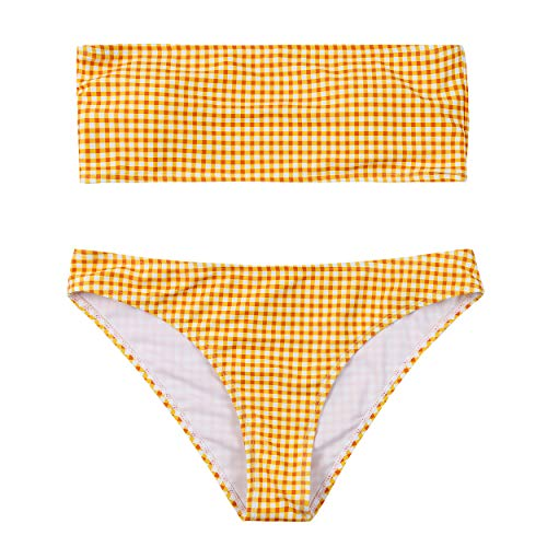 (Lemonfish Women's Strapless Bra High Waist Thongs Horizontal Stripe Bandeau Bikini Set Swimsuit (Yellow Plaid, L(US,12-14)))
