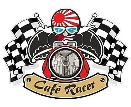 Retro Cafe Racer Ton hasta diseño de motero con bandera de Japón para bicicleta japonés vinilo