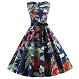Triskye Women Casual Sexy Dress Vintage Sleeveless Print Ladies Fashion Party Evening Club Prom Swing Pleated Dresses Navy