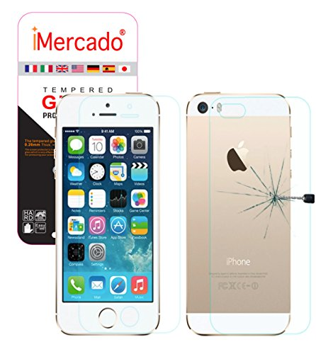 Tempered Front and Back Glass Screen Protector for iPhone SE/5S/5 - 4