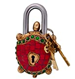 Purpledip Tortoise Turtle Shaped Brass Lock Padlock: Handmade Antique Design With Colorful Gemstone Work; Unique Collectible Combination Of Style & Security with Vastu FengShui Significance (10700)