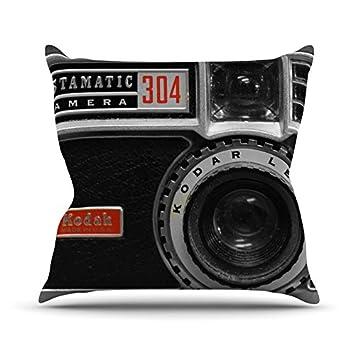 Black Gray 18 x 18 Kess InHouse Robin Dickinson Instamatic Red Throw Pillow