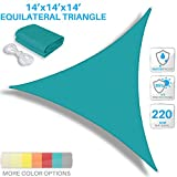 Patio Paradise 14' x 14' x 14' Waterproof Sun Shade Sail-Turquoise Green Equilateral Trangle UV Block Durable Awning Canopy Outdoor Garden Backyard Available