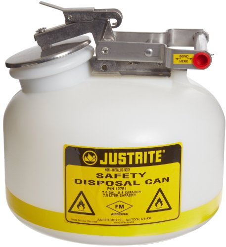 Justrite 12751 2 Gallon Capacity, 12.00'' O.D x 14.75'' H Size Laboratory Cans For Corrosives by Justrite