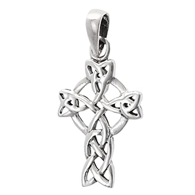 dd15a5fe3 Image Unavailable. Image not available for. Color: Celtic Cross Pendant .925  Sterling Silver ...
