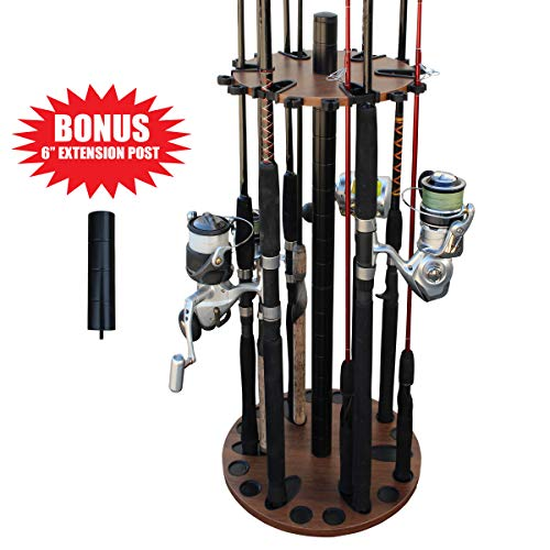 Rush Creek Creations 24 Round Fishing Rod/Pole Storage Floor Rack Dark Walnut Finish - Features Free 6