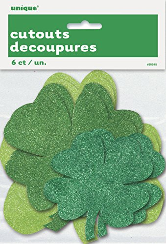 Glitter Paper Cutout Shamrock St. Patrick's Day Decorations, Assorted -