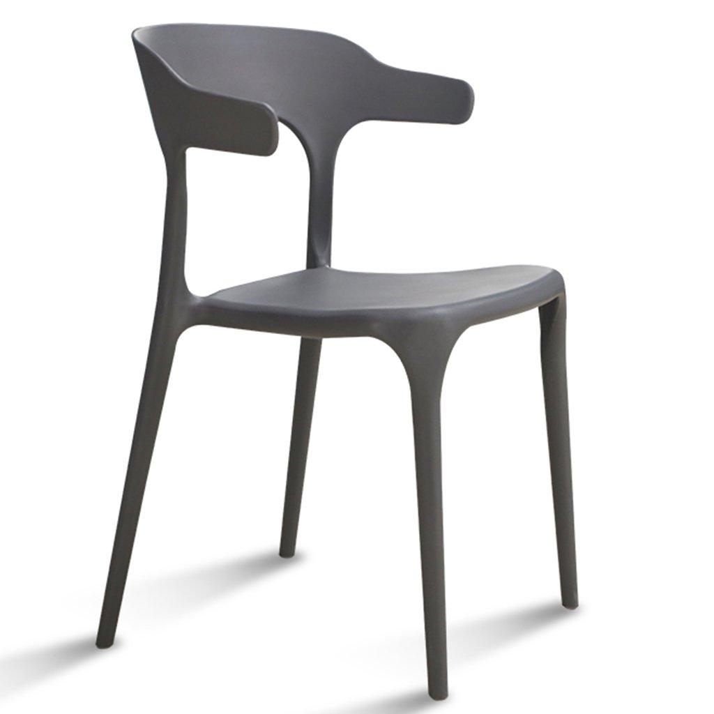 ブラックスタック可能な屋外の椅子防水性のプラスチック製のシート現代風の屋内レストランカフェホームスツール、4のセット (色 : グレー, サイズ さいず : Set of 1) B07DX2B56V Set of 1|グレー グレー Set of 1