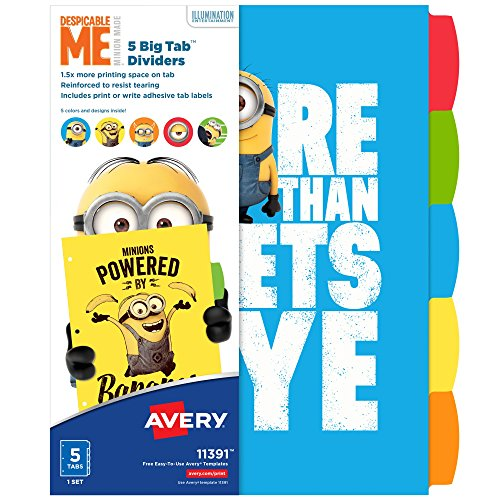(Avery Despicable Me Big Tab Dividers, Minions Expressions, 5-Tab Dividers, 1 Set (11391))