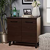Willson Modern 3-Shelf Walnut Finished Faux Wood Cabinet with Sanremo Oak Interior
