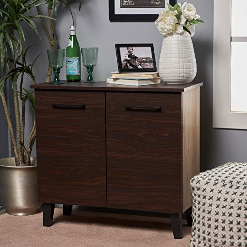 Willson Modern 3-Shelf Walnut Finished Faux Wood Cabinet with Sanremo Oak Interior by Great Deal Furniture