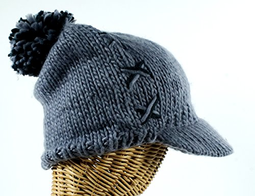 - Women's Knit Cap with Cross Stitch Accent Gray