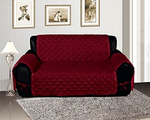 Quilted Suede Loveseat Slipcover (Burgundy Quilted Micro Suede Pet Dog Loveseat Slipcover)