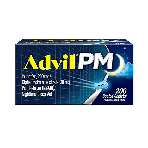 Advil PM Pain Reliever/Nighttime Sleep Aid, Ibuprofen and Diphenhydramine (1 Pack ,200 Coated Caplets)
