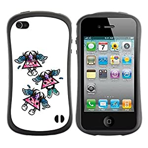 Hybrid Anti-Shock Bumper Case for Apple iPhone 4 4S / Cool Triangles