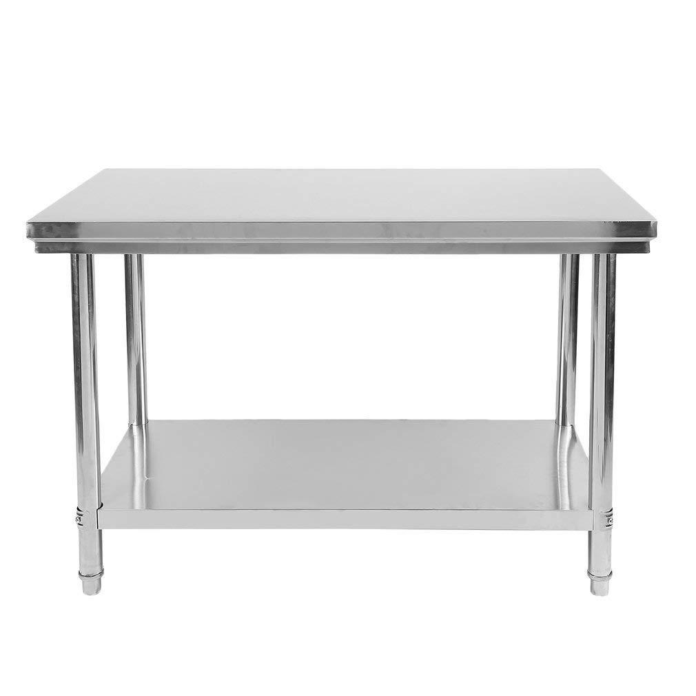 Poncherish Edelstahl Tisch Kü chentisch Arbeitstisch Edelstahltisch 120 x 60 x 80cm fü r Kü che Bar Restaurant, Silber, bis 100 kg belastbar
