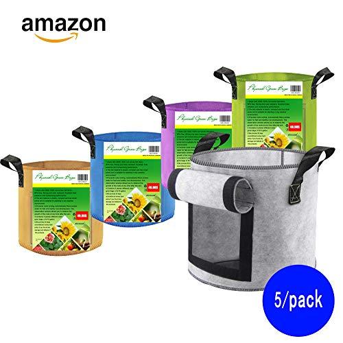 PhysCool 5 Color (5-10 Gallon Set) Premium Felt Plant Grow Bags, Super Strong Fabric with Handles & Observation Window Breathable Smart Garden Planter