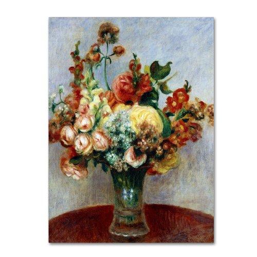 1898 Fine Art - Trademark Fine Art Flowers in a Vase 1898 Artwork by Pierre Renoir, 35 by 47-Inch Canvas Wall Art
