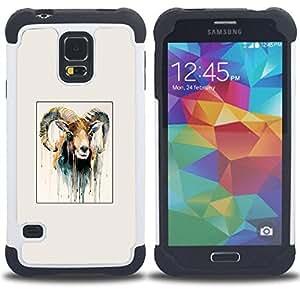- Capricorn goat painting horns ram art - - Doble capa caja de la armadura Defender FOR Samsung Galaxy S5 I9600 G9009 G9008V RetroCandy