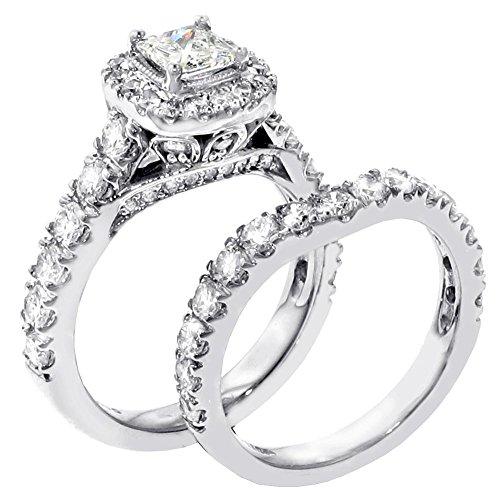 3 00 CT TW Halo Princess Cut Diamond Encrusted Engagement Bridal Set in 14k W