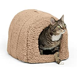"Best Friends by Sheri Pet Igloo Hut, Sherpa, Beige - Cat and Small Dog Bed Offers Privacy and Warmth for Better Sleep - 17x13x12"" - For Pets 9lbs or Less"