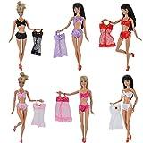 E-TING 6 Set Fashion Sexy Pajamas Underwear Lingerie Bra Lace Dress Clothes For Barbie Dolls
