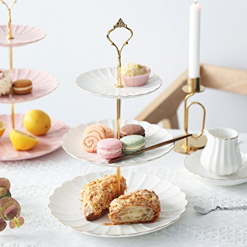 Pukka Home 3 Tier Ceramic Cake Stand British Royal Series Wedding Dessert Cupcake Stand for Tea Party Serving Platter (Pure White) by Pukka Home (Image #1)
