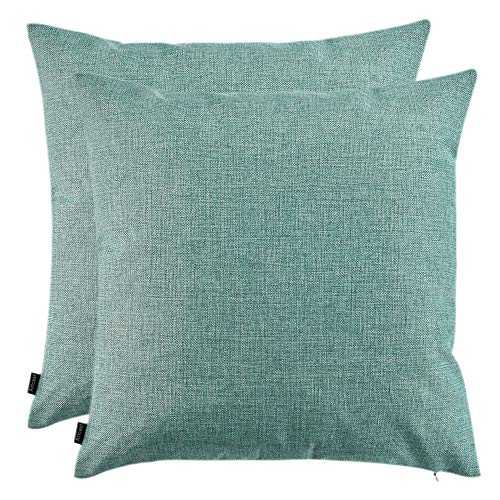 """Artcest Set of 2, Decorative Linen Bed Throw Pillow Cases, Sofa Durable Modern Stylish, Comfortable Cushion Covers for Couch, 20""""x20"""" (Seafoam Aqua) from Artcest"""
