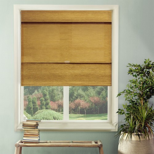 Chicology Cordless Magnetic Roman Shades / Window Blind Fabric Curtain Drape, Natural Woven, Privacy - Jamaican Antique Gold, 27
