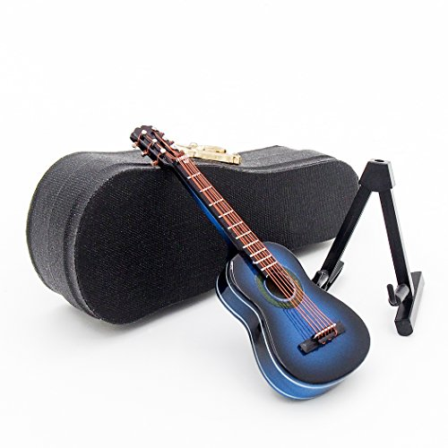 Odoria 1:12 Blue Acoustic Guitar with Stand and Case Wooden Musical Instrument Miniaure Dollhouse