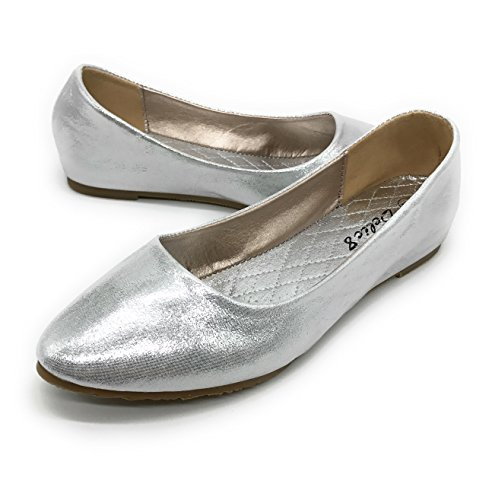 Casual Fashion Faux EASY21 D08 Leather Ballet Blue Berry Flats Shoes Silver Womens qpAn4at