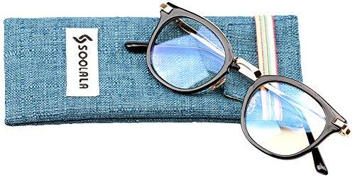 SOOLALA Womens Hot Fashion Cateye Eyeglass Frame Stylish Reading Glasses, BlackGold, - Sunglasses Presription