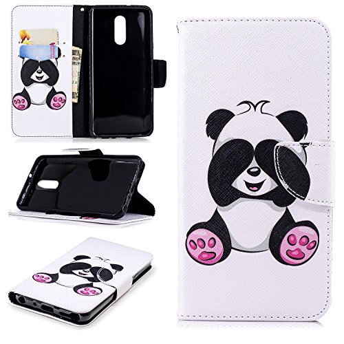 Ostop Painted Leather Wallet Case for LG Stylo 4,LG Q Stylus Case,[Kickstand Feature] Cute Panda Printed Pattern White PU Magnetic Flip Cover with Card Slots Shockproof Shell