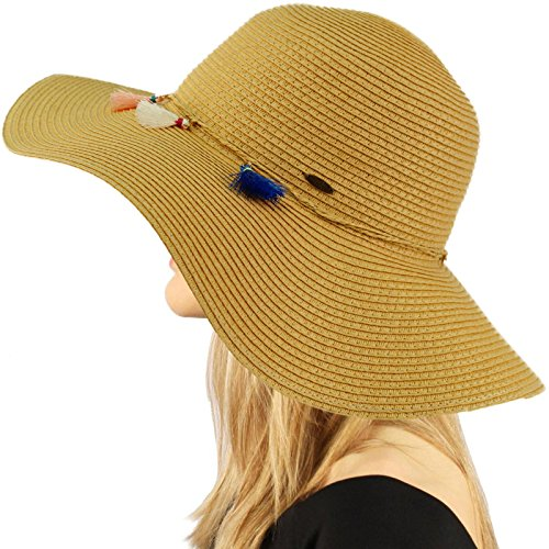 "C.C Fun Tassels Hatband Floppy Wide Brim 4"" Summer Beach Pool Sun Hat"