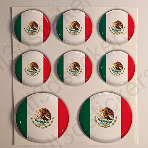 Pegatinas Bandera Mexico Redondas 8 x Pegatina Mexico Resina ...