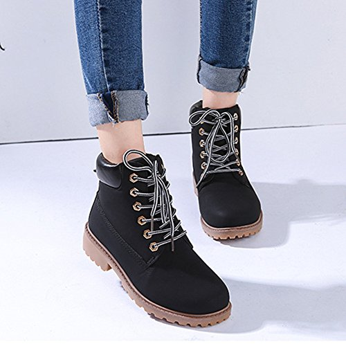 Highdas Women Boots Combat Patrol Boots - Martin Army Tactical Worker Boots Ankle Outdoor Hiking Shoes Black YyHLAka