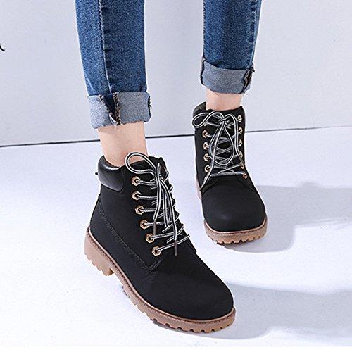 gefüttert Worker Boots 36 mit Stiefel Stiefeletten hibote Damenschuhe Warm Cowboy Schwarz Gr Stiefeletten Combat 41 Stiefel Gefütterte Boots qBwHnAT
