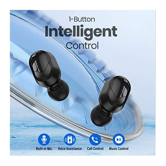 pTron Bassbuds Plus in-Ear True Wireless Stereo Headphones (TWS), Made in India Bluetooth Earphones, IPX4 with HD Mic - (Blue & Black)