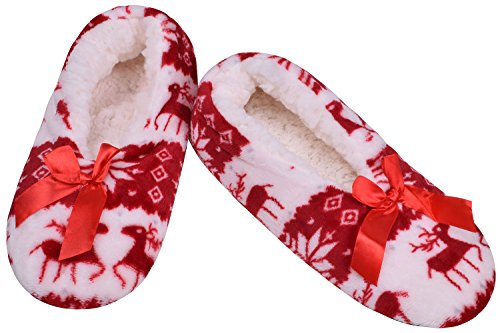 Ladies Bedroom Shoes Anti-Slip Plush Slippers Winter Indoor House Fluffy Mules Red D5cigtUaCH