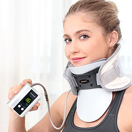 Cervical Neck Traction Device -Electric Pump Inflating Neck Stretcher, Small for Weight <176lb-...