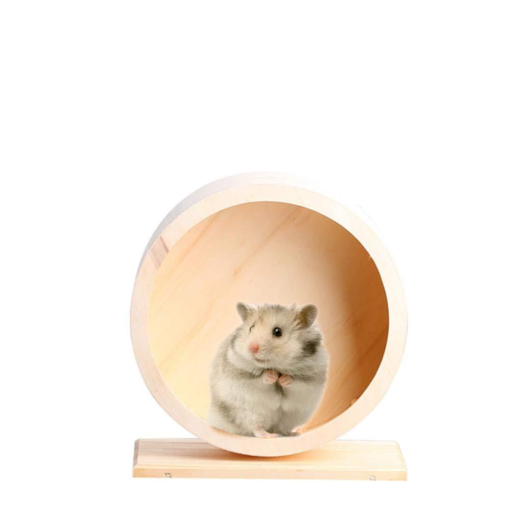 Ksruee Roue d'exercice en Bois muet Hamster Running Wheel respectueux de l'environnement Roue de Jouet Animaux de Souris Hamster Souris Gerbille Petits Animaux